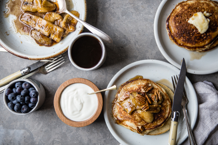 Banana Pancakes With Caramelized Bananas & Pecans