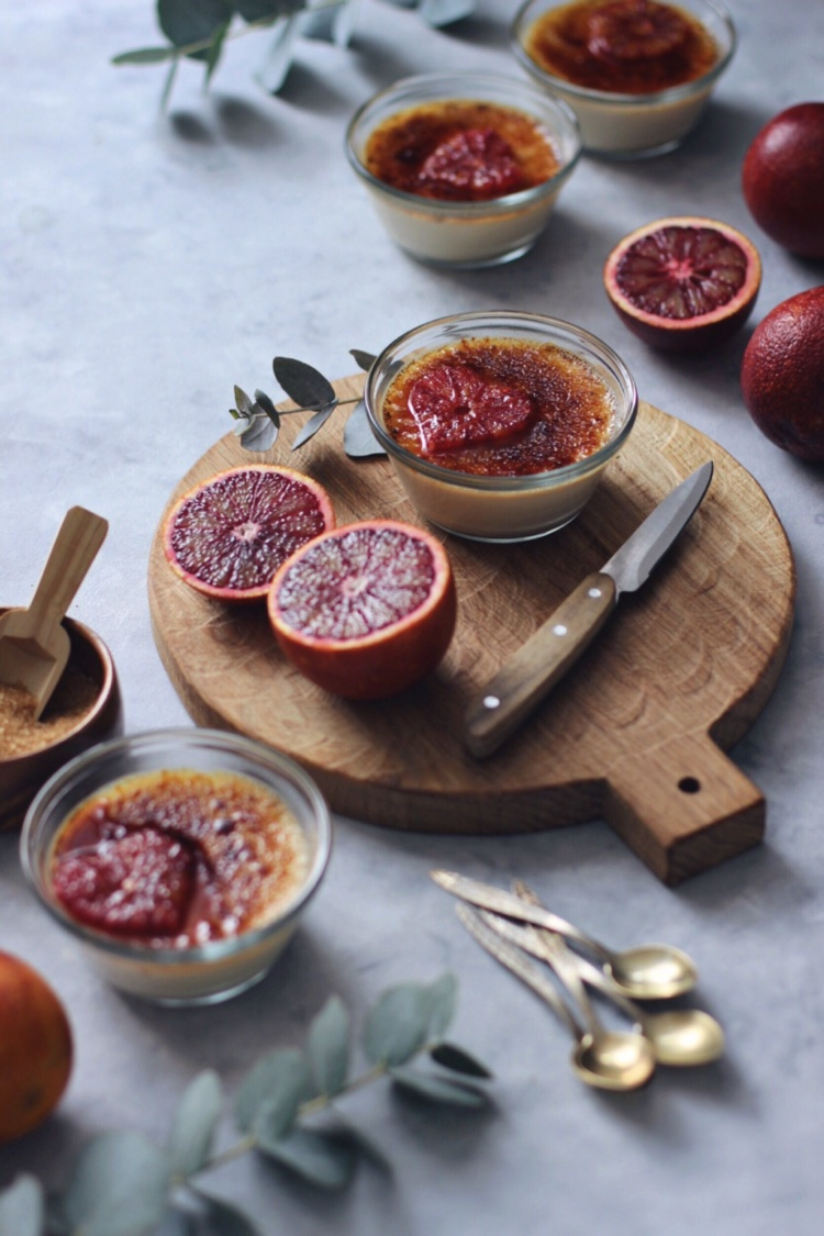 Creme Brulee with blood oranges